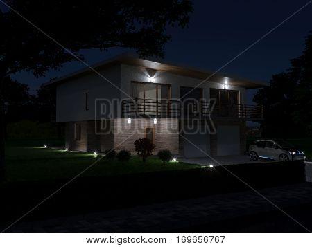 Project villas in imnimalisticheskom style. The main facade of the villa. Night view