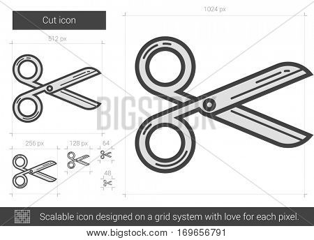 Cut vector line icon isolated on white background. Cut line icon for infographic, website or app. Scalable icon designed on a grid system.