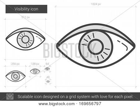 Visibility vector line icon isolated on white background. Visibility line icon for infographic, website or app. Scalable icon designed on a grid system.