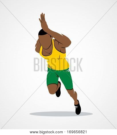 Runners on short distances sprinter on a white background. Photo illustration.