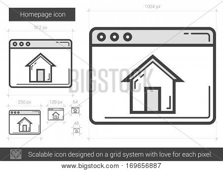 Homepage vector line icon isolated on white background. Homepage line icon for infographic, website or app. Scalable icon designed on a grid system.