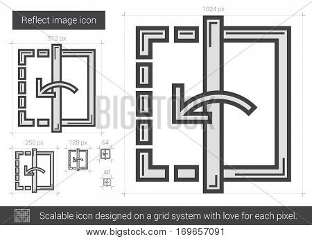 Reflect image vector line icon isolated on white background. Reflect image line icon for infographic, website or app. Scalable icon designed on a grid system.