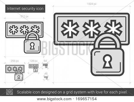 Internet security vector line icon isolated on white background. Internet security line icon for infographic, website or app. Scalable icon designed on a grid system.