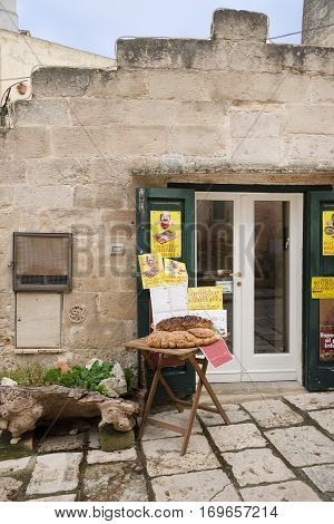 Matera-Italy-December 29 2016 :typical grocery shop in Matera.It is the Italian city designated European Capital of Culture in 2019 and World Heritage Site