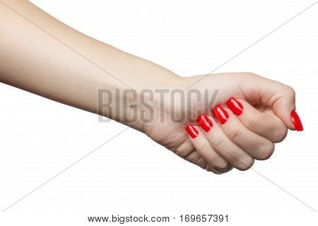 Beautiful female hands with red manicure and nail polish. woman's fist