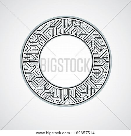Vector abstract computer circuit board illustration monochrome round technology element with connections. Electronics theme web design.