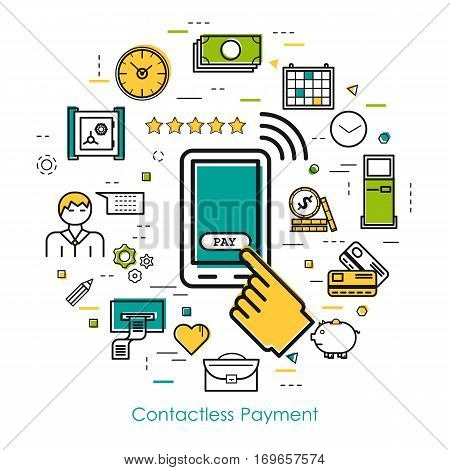 Vector round concept of Contactless Payment or new technology of banking system in thin line style. Mobile phone with hand and button pay banknotes and coins businessman device and others icons