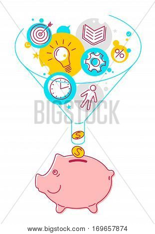 Funnel flow and piggy-bank concept. Flat line style illustration. Process of conversion ideas time technologies to money. Infographics vector elements for business publish web social networks.
