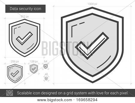 Data security vector line icon isolated on white background. Data security line icon for infographic, website or app. Scalable icon designed on a grid system.