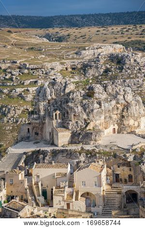 View of Sassi. Matera is the Italian city designated European Capital of Culture in 2019 and World Heritage Site