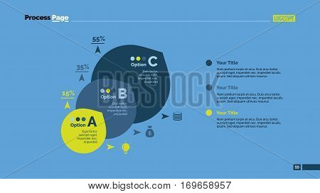 Three circles percentage chart. Business data. Comparison, diagram, design. Concept for infographic, presentation, report. Can be used for topics like analysis, statistics, research.