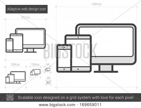Adaptive web design vector line icon isolated on white background. Adaptive web design line icon for infographic, website or app. Scalable icon designed on a grid system.
