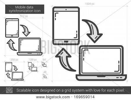 Mobile data synchronization vector line icon isolated on white background. Mobile data synchronization line icon for infographic, website or app. Scalable icon designed on a grid system.