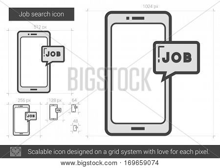 Job search vector line icon isolated on white background. Job search line icon for infographic, website or app. Scalable icon designed on a grid system.
