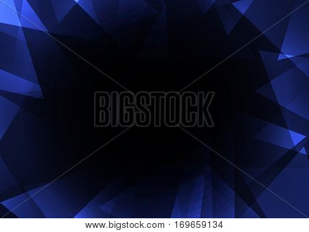 blue dark crystal abstract background, diamond business template, facet technology background, vector illustration, fractal frame abstract dark background