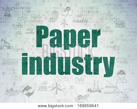 Industry concept: Painted green text Paper Industry on Digital Data Paper background with  Scheme Of Hand Drawn Industry Icons