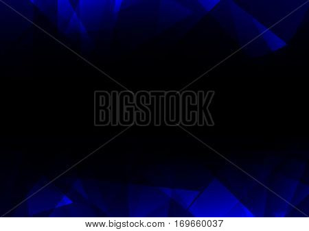 blue dark crystal abstract background, diamond business template, facet technology background, vector illustration, fractal side frame background