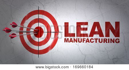 Success Industry concept: arrows hitting the center of target, Red Lean Manufacturing on wall background, 3D rendering