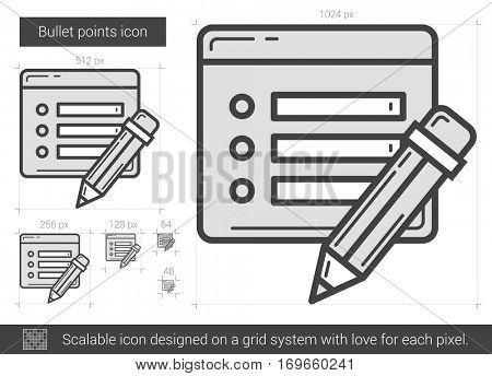 Bullet points vector line icon isolated on white background. Bullet points line icon for infographic, website or app. Scalable icon designed on a grid system.