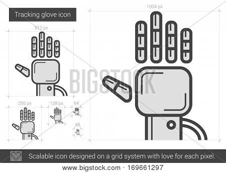 Tracking glove vector line icon isolated on white background. Tracking glove line icon for infographic, website or app. Scalable icon designed on a grid system.