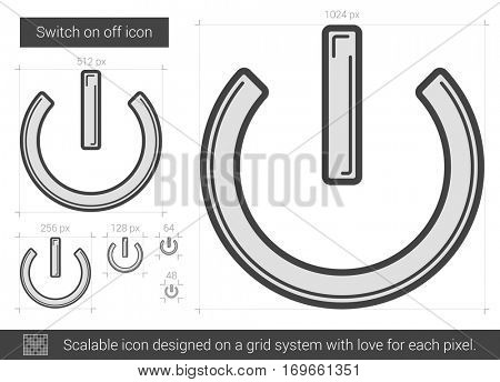 Switch on off vector line icon isolated on white background. Scalable icon designed on a grid system.
