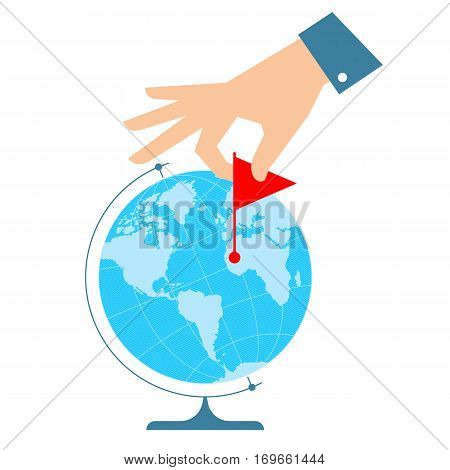 Business trip concept. Flat vector illustration of western globe hemisphere and human hand with flag marker. Man is pinning a place on the map. Infographic element for web publish social networks.
