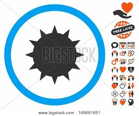 Bacterium icon with bonus amour clip art. Vector illustration style is flat iconic symbols for web design app user interfaces.