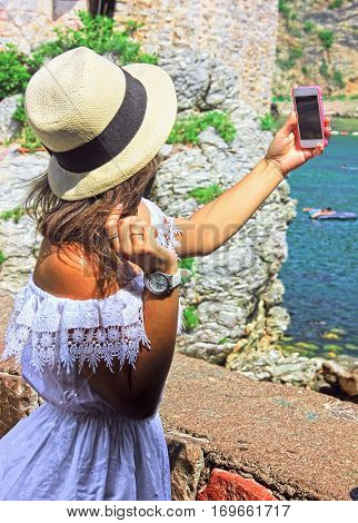 Beautiful Girl In A Summer Making Selfie, On A Sunny Summer