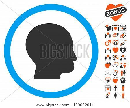 Bald Head icon with bonus lovely symbols. Vector illustration style is flat iconic elements for web design app user interfaces.