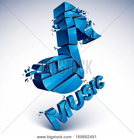 3D Vector Blue Shattered Musical Notes With Music Word. Art Melody Transform Symbol Broken Into Piec