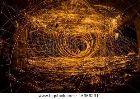 Freezelight using spinning burning steel wool and pyrotechnics in abandoned soviet bomb shelter