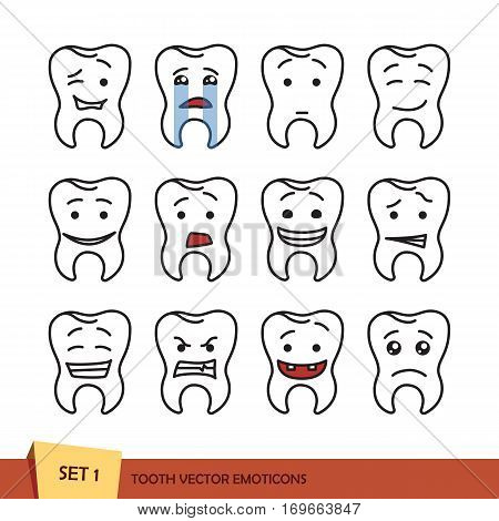 Set of tooth outline emoticons. Isolated vector illustration on white background. Dent emoji
