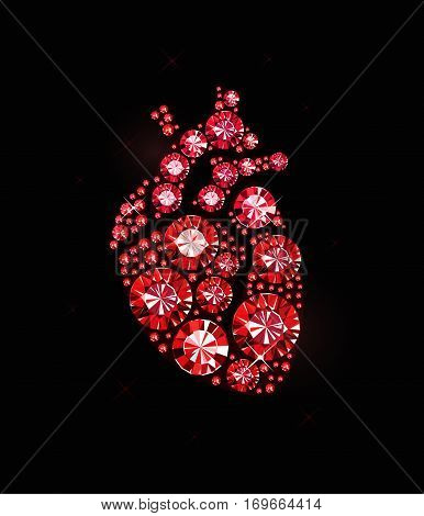 Human heart made of red gems on black