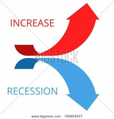 Increasing and recession graph concept. Flat vector illustration of two arrows. Business and science research process development. Isolated infographic elements for web print presentation networks.