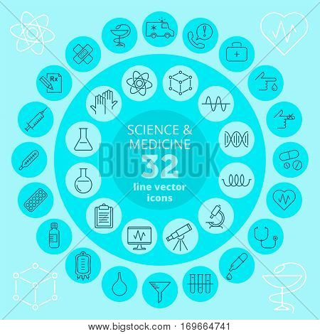 Science medical and health care icon set. Chemical laboratory pharmacy medicine medical and scientific research equipment vector line icons. Infographic elements for web print and social network.