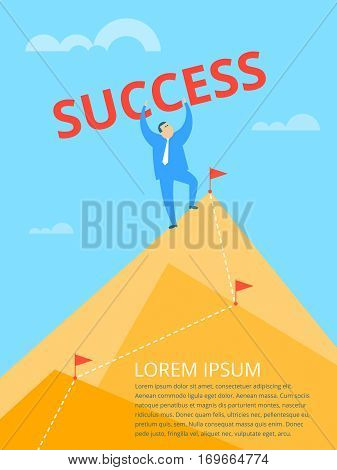 Businessman standing on the rock peak. Route line with marker flags routed through the mountains. Business success concept flat vector illustration. The metaphor of the goal achievement.