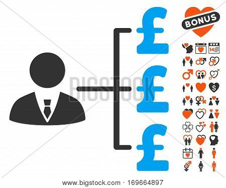Banker Pound Payments icon with bonus passion design elements. Vector illustration style is flat iconic elements for web design app user interfaces.