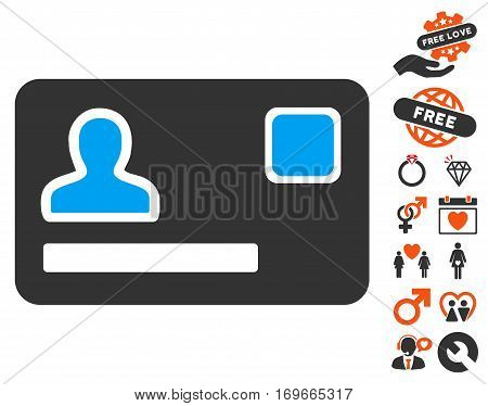 Banking Card pictograph with bonus love symbols. Vector illustration style is flat iconic elements for web design app user interfaces.