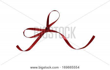 Smal red silk ribbon bow isolated on white