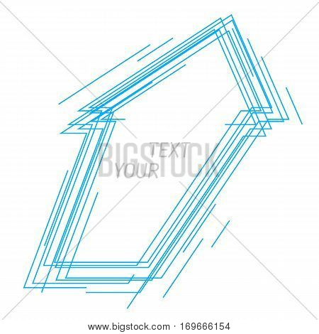 Abstract increasing arrow symbol. Vector line illustration of growth arrow sign. Idea of power energy aspiration and progress. Background design element for internet print social networks.