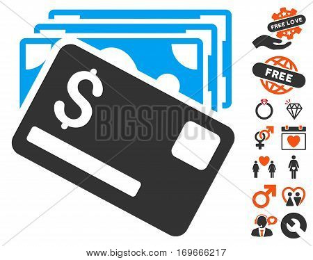 Banknotes And Card pictograph with bonus passion icon set. Vector illustration style is flat iconic elements for web design app user interfaces.