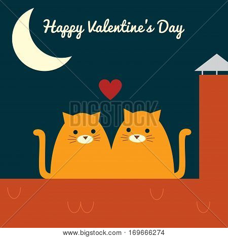 Vector retro styled illustration of a couple of ginger cats sitting on a roof near a chimney. Half moon in a night sky. Square format. Text
