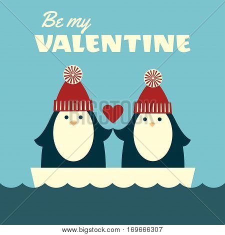 Vector retro styled illustration of a couple of penguins in red knitted hats standing on an ice floe and holding hands. Blue background. Square format. Text