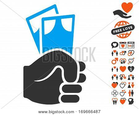 Banknotes Salary Hand icon with bonus love icon set. Vector illustration style is flat iconic symbols for web design app user interfaces.