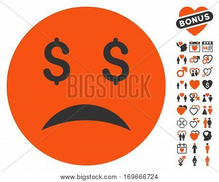 Bankrupt Smiley pictograph with bonus romantic pictograms. Vector illustration style is flat iconic elements for web design app user interfaces.