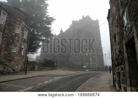 Stirling's mysterious old town, with Church of the Holy Rude at top of street