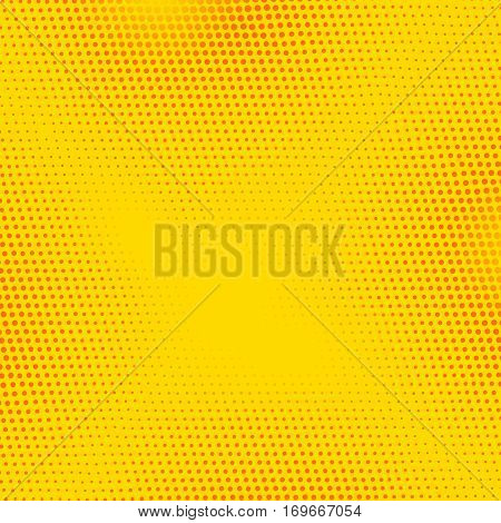 Red, Yellow vector pop art banner with halftone dots. Vintage retro comics background illustration.