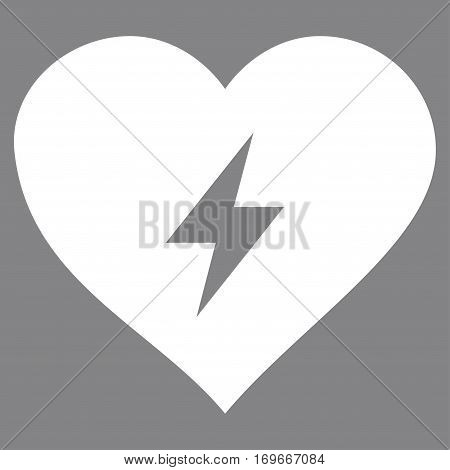 Heart Power flat icon. Vector white symbol. Pictogram is isolated on a gray background. Trendy flat style illustration for web site design logo ads apps user interface.