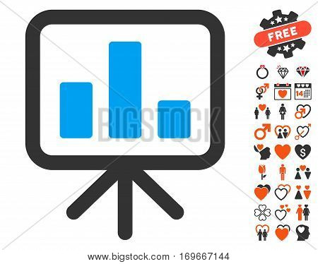 Bar Chart Display pictograph with bonus romantic design elements. Vector illustration style is flat iconic elements for web design app user interfaces.