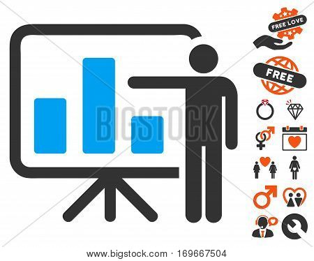 Bar Chart Presentation icon with bonus passion graphic icons. Vector illustration style is flat iconic symbols for web design app user interfaces.